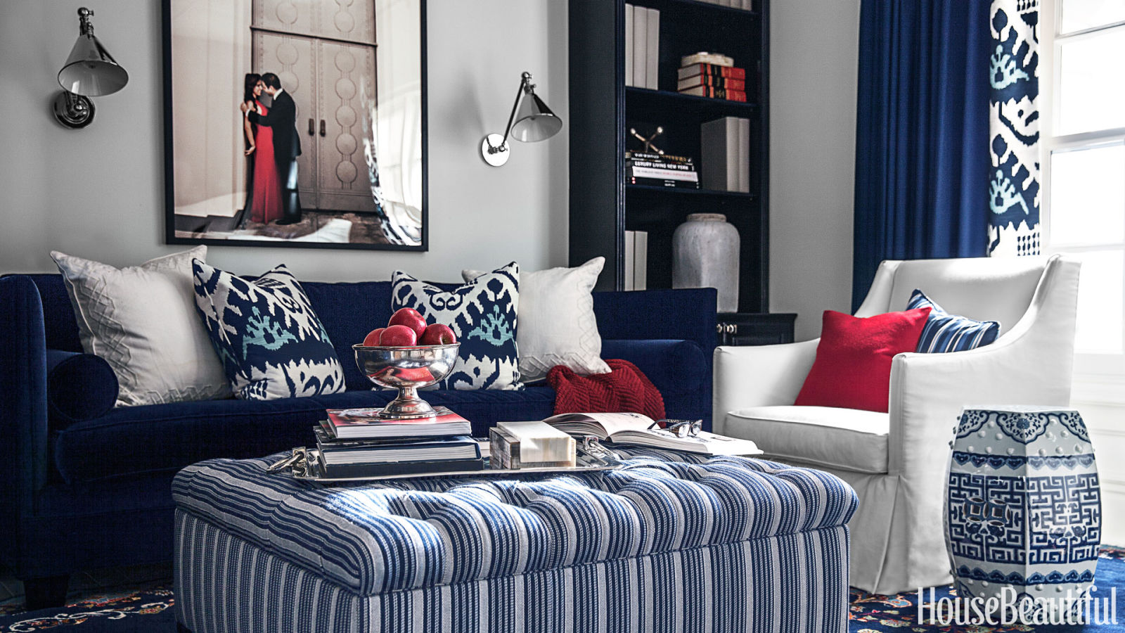 Copy cat chic room redo red white and blue living room copycatchic for Red and blue living room ideas