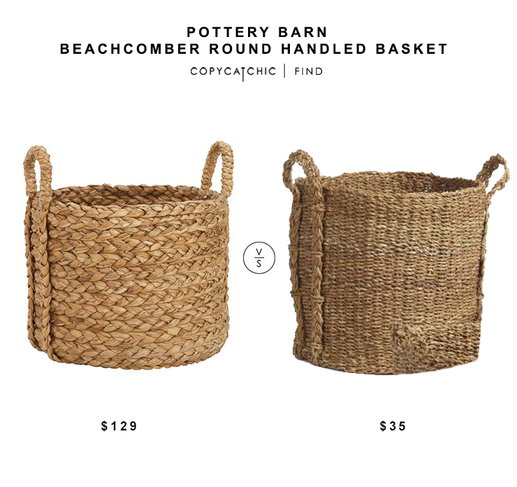 Pottery Barn Beachcomber Seagrass Basket $129 vs World Market Seagrass Aurora Tote Basket $35 Seagrass Basket look for less copycatchic luxe living for less