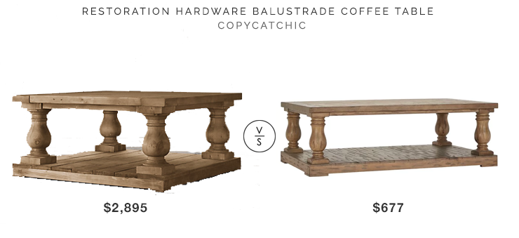 Restoration Hardware Balustrade Coffee Table $2895 vs Edmaire Rustic Balustrade Coffee Table $677 copycatchic luxe living for less budget home decor and design