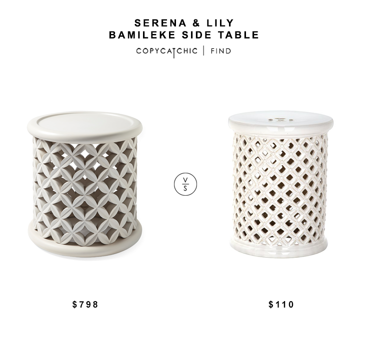 Serena & Lily Bamileke Side Table $798 vs Wayfair Antigonos Garden Stool $110 white ceramic stool look for less copycatchic luxe living for less budget decor