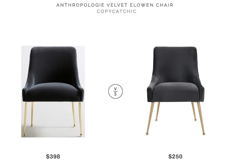 Anthropologie Velvet Elowen Chair $398 vs Tov Furniture Modern Beatrix Velvet Side Chair $250 velvet chair look for less copycatchic luxe living for less
