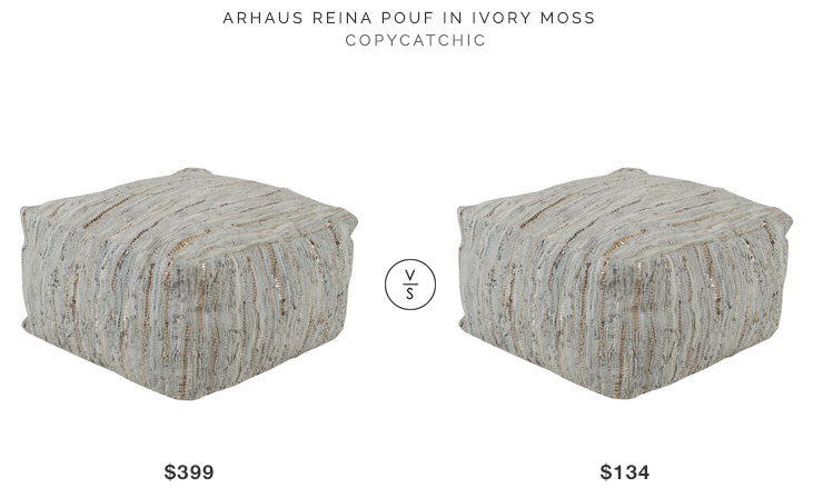 Arhaus Reina Pouf $399 vs Joss & Main Esther Leather Pouf $134 copycatchic luxe living for less budget home decor and design look for less