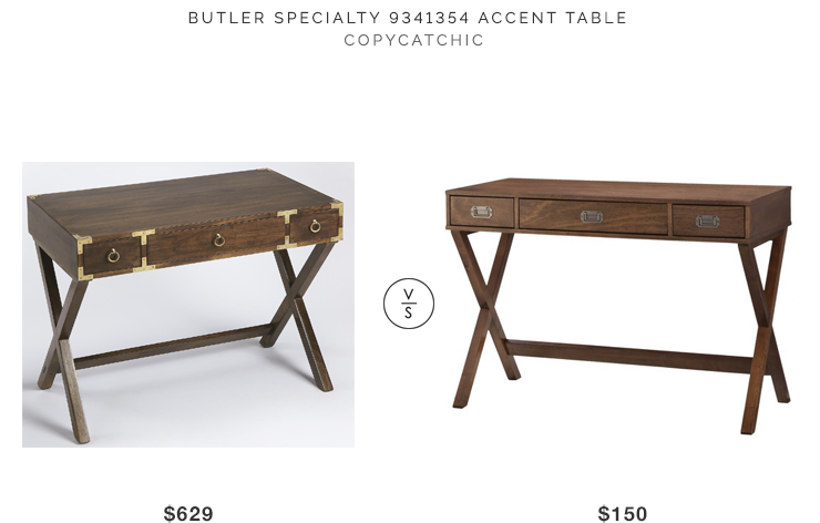 Butler Specialty Accent Table $629 vs Target Threshold Campaign Desk $150 Campaign console look for less copycatchic luxe living for less budget home decor