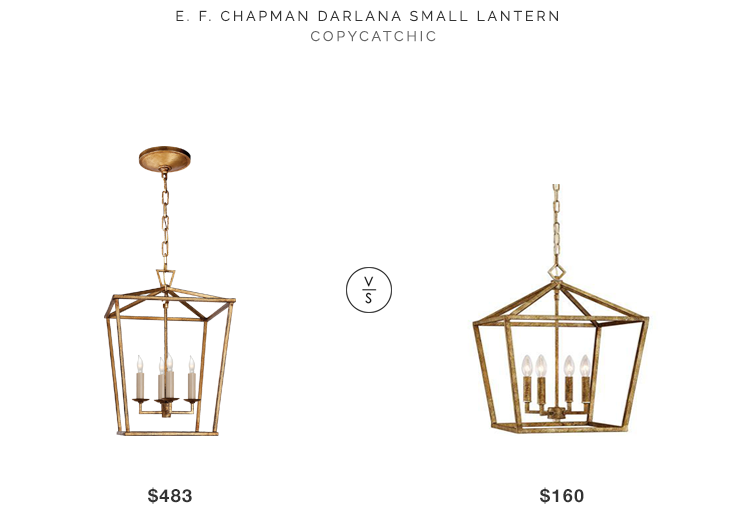 E.F Chapman Darlana Lantern for $483 vs Millennium Lighting Gold Penant for $160 copycatchic luxe living for less budget home decor and design
