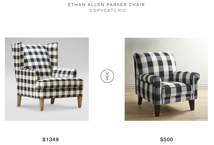 Ethan Allen Parker Chair $1349 vs Lyndee Buffalo Check Black Chair $500 buffalo check armchair look for less copycatchic luxe living for less budget home