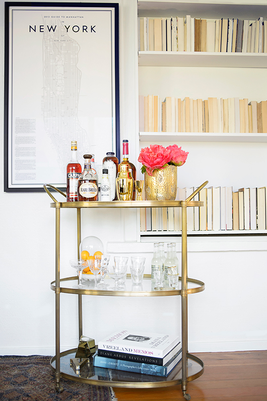 West Elm Gold Framed Mirrored Bar Cart