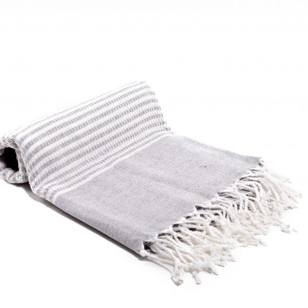Gray Striped Turkish towel hand woven with 100% bamboo. Ultra-Soft. copycatchic luxe living for less