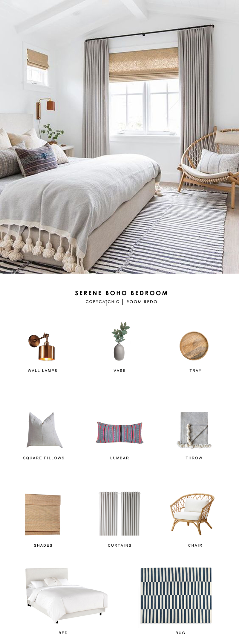 This serene boho bedroom by Amber Interiors is recreated for less by copycatchic luxe living for less budget home decor and design room redos