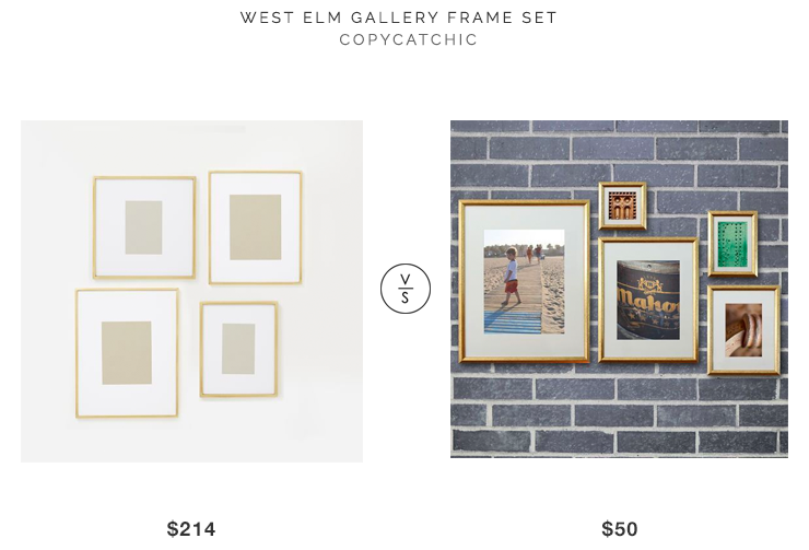 West Elm Gallery Frame Set for $214 vs Studio Decor Gold Photo Frame Set for $50 Gold Frame Gallery Wall look for less copycatchic luxe living for less