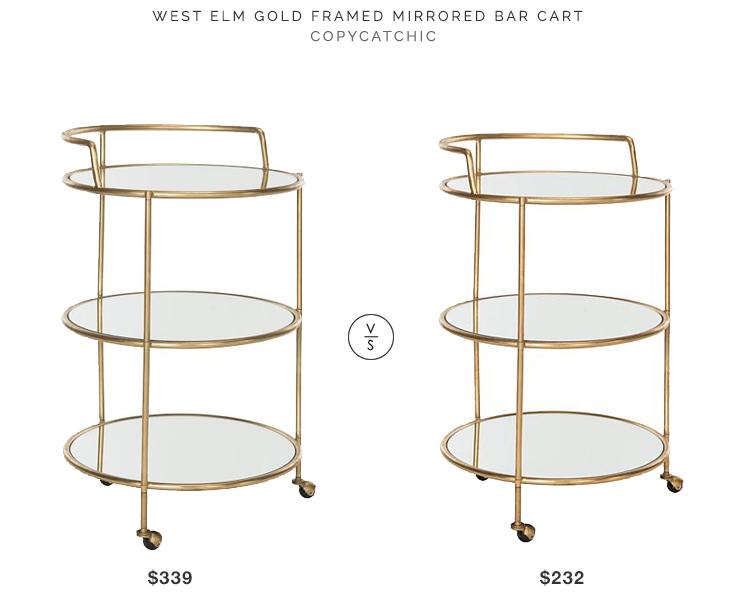 West Elm Gold Framed Mirrored Bar Car 339 Vs Safavieh Dulcinea Cart 232 Budget Round