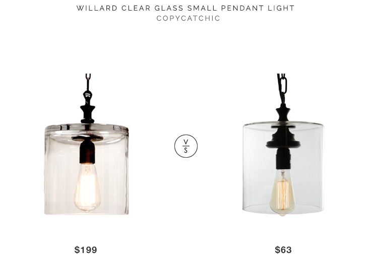 Kathy Kuo Willard Clear Glass Pendant Light $199 vs Warehouse of Tiffany Kostro Edison Lamp $63 glass drum pendant look for less copycatchic budget decor