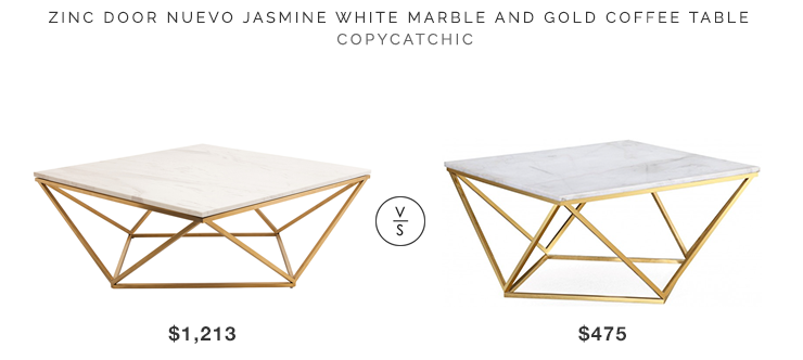 Zinc Door Nuevo Jasmine White Marble and Gold Coffee Table copycatchic