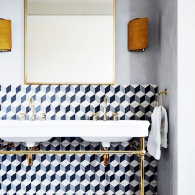 Clé Cement Tile in Diamond Twist $16 v Elite Tile Ceramic Field $4 geo cement tile look for less copycatchic luxe living for less budget home decor design