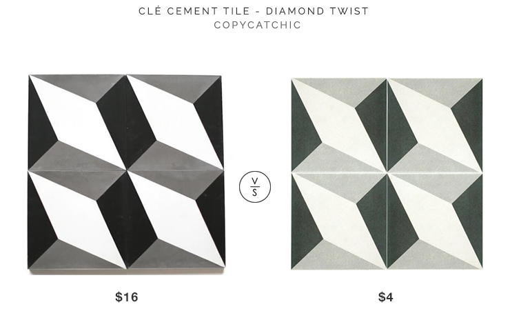 Clé Cement Tile in Diamond Twist $16 v Elite Tile Ceramic Field $4 geo cement tile look for less copycatchic luxe living for less budget home decor design