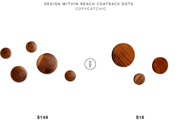 DWR Coatrack Dots for $149 vs CB2 Dot Coat Hooks for $16 wood coatrack dots look for less copycatchic luxe living for less budget home decor and design