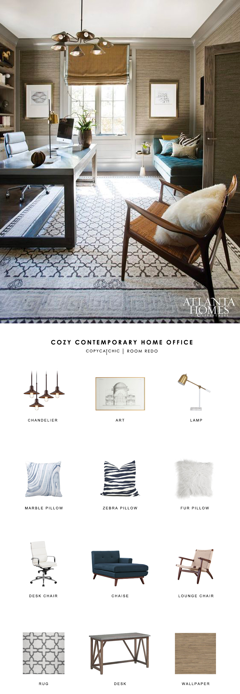 cozy contemporary home office. sophisticated contemporary home office designed by brian watford gets recreated for less copycatchic luxe living cozy