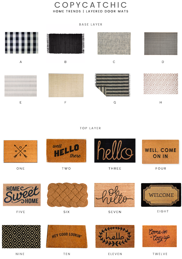Create curb appeal with a simple trick, layer rugs under your doormat. Our fave picks to achieve the layered doormat look! copycatchic luxe for less decor