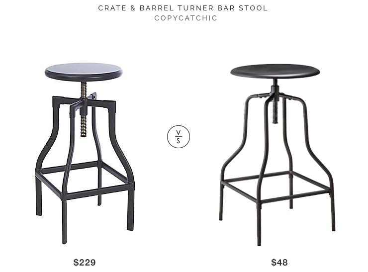 Crate & Barrel Turner Black Adjustable Backless Bar Stool $229 vs Target Threshold Industrial Swivel Bar Stool $48 copycatchic look for less budget decor