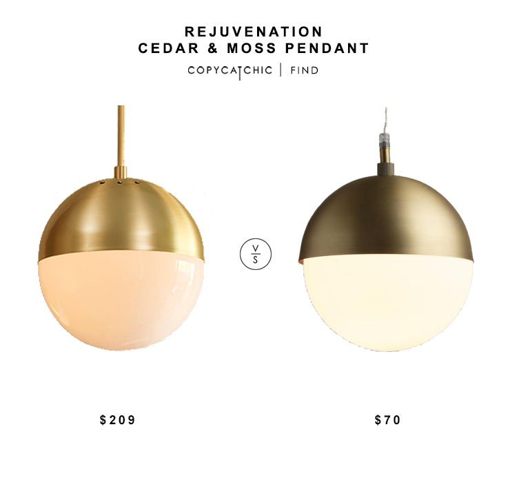 Rejuvention Cedar & Moss Pendant $209 vs World Market Hailey Pendant $70 brass globe pendant look for less copycatchic luxe living for less budget home decor and design