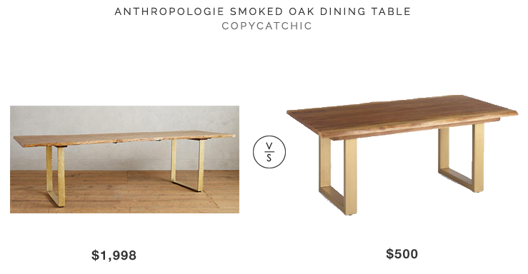 Anthropologie Smoked Oak Dining Table $1998 vs World Market Live Edge Wood Sload Dining Table $500 copycatchic luxe living for less budget home decor and design look for less