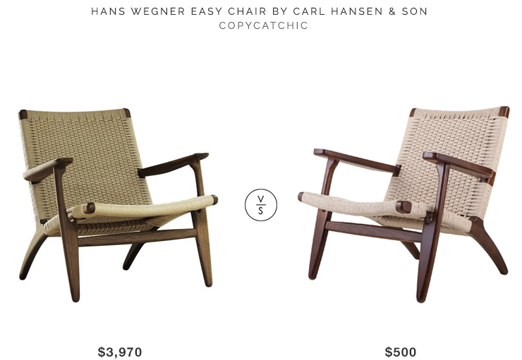 Hans Wegner CH25 Easy Chair by Carl Hansen & Son $3,970 vs Minimal & Modern NYE Koncept Modern Claus Chair $500 look for less copycatchic budget decor and design