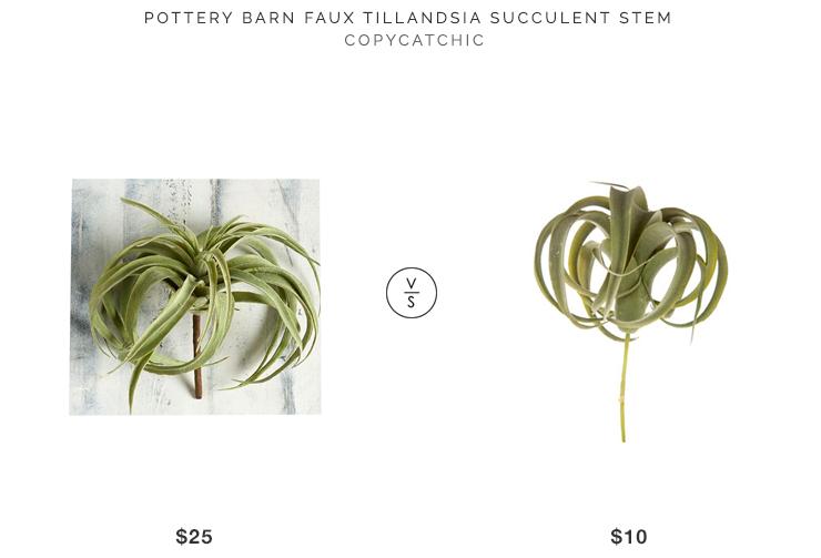 Pottery Barn Faux Tillandsia Succulent Stem $25 vs Flocked Air Plant Pick $10 large faux air plant look for less copycatchic luxe living for less home decor