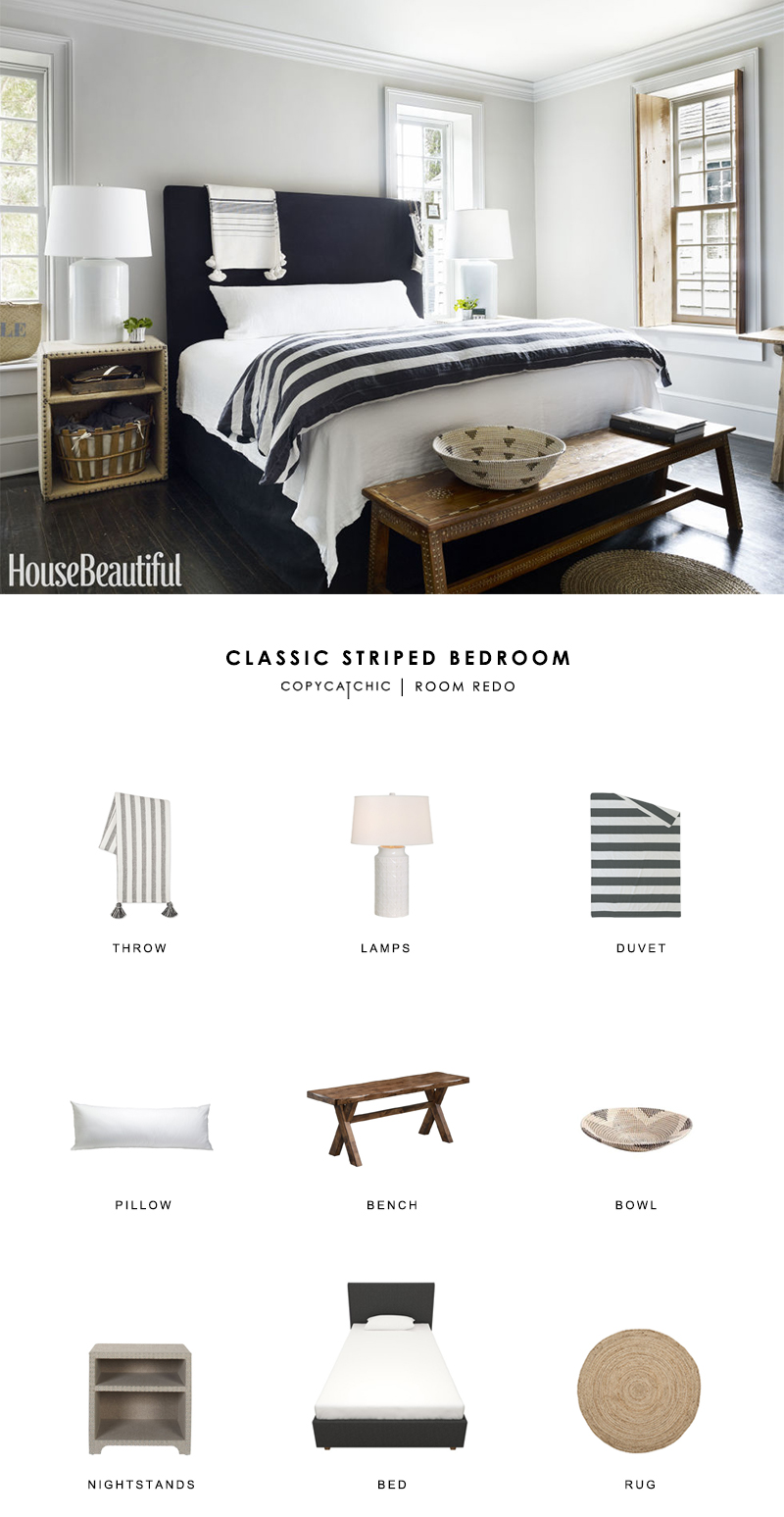 Tonal black and white master bedroom by Jill Sharp Weeks gets recreated on a budget for less than $1500 copycatchic room redo luxe living for less budget