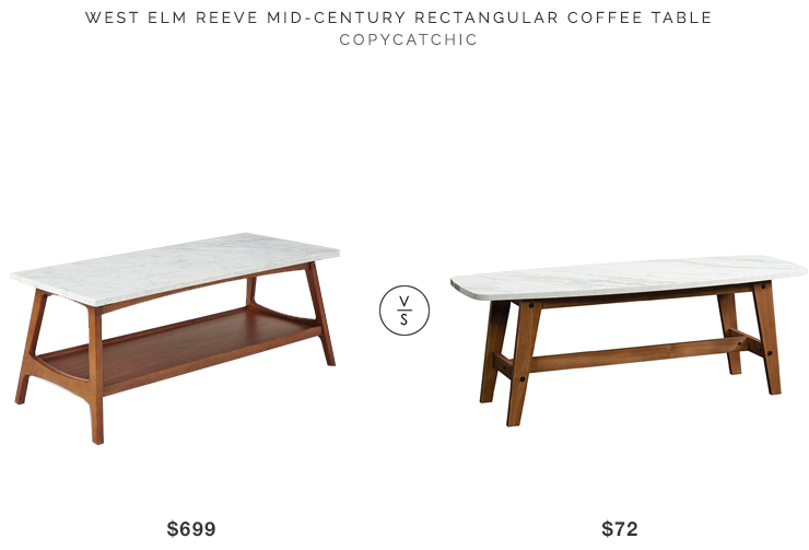 West Elm Reeve Mid-Century Rectangular Coffee Table $699 vs Sauder Soft Modern Coffee Table $72 mid century marble coffee table look for less copycatchic luxe living for less budget home decor and design looks for less
