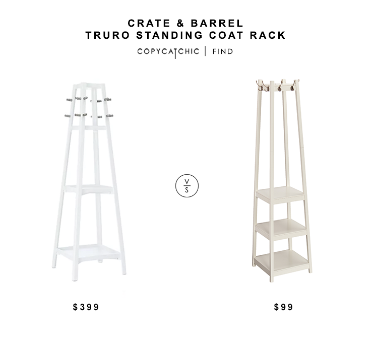 Crate & Barrel Truro Wood Standing Coat Rack $399 vs Overstock Harper Blvd Arnie Hall Tree $99 white coat rack look for less copycatchic luxe living for less home decor and design