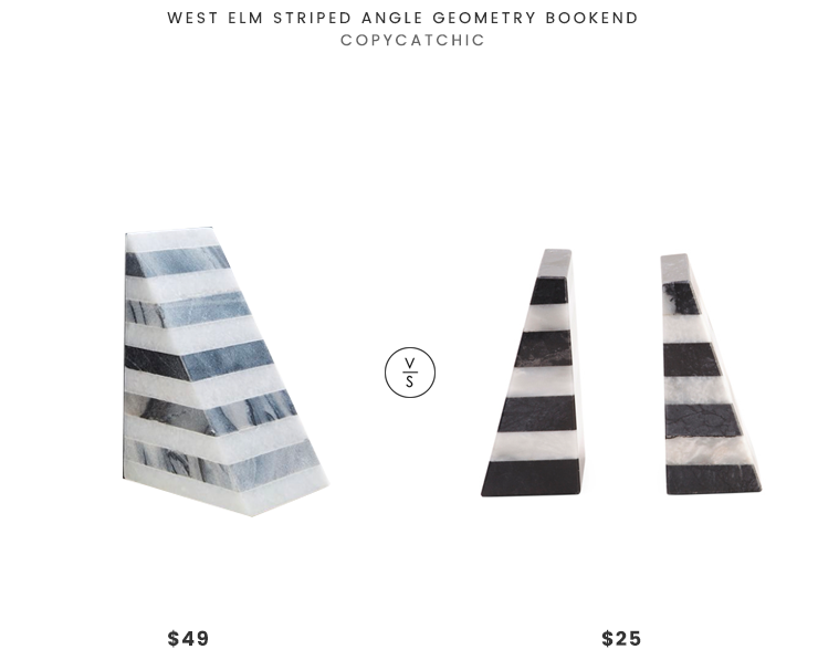 West Elm Striped Angle Geometry Bookend $49 vs TJMaxx Striped Marble Bookends $25 striped marble bookend look for less copycatchic luxe living for less budget home decor and design daily finds