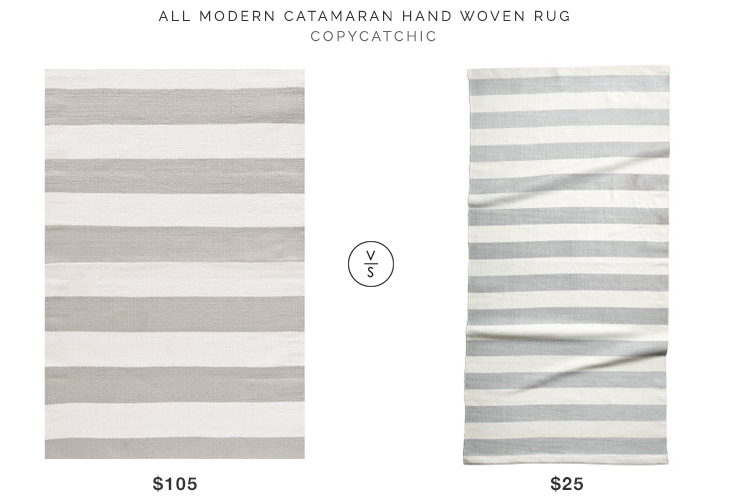 All Modern Catamaran Hand Woven Rug $105 vs H&M Striped Cotton Rug for $25 gray stripe rug look for less copycatchic luxe living for less budget home decor