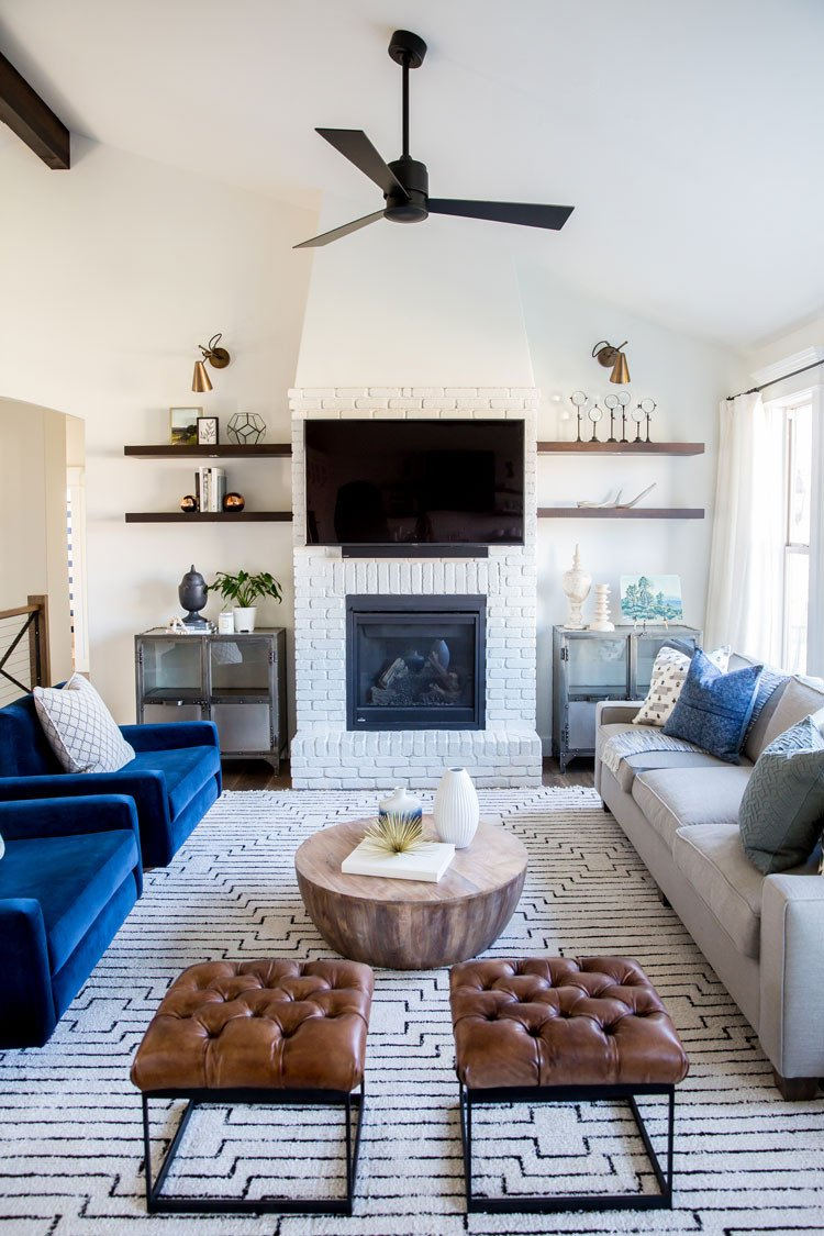This contemporary blue living room design by House of Jade gets recreated for less by copycatchic luxe living for less budget home decor and design looks for less