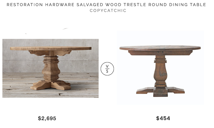RESTORATION HARDWARE SALVAGED WOOD TRESTLE ROUND DINING TABLE | $2,695.  ALDRIDGE ANTIQUE WALNUT DINIGN TABLE | $454