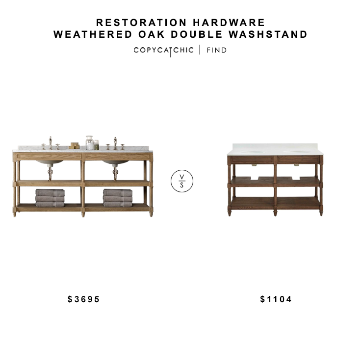 Restoration Hardware Weather Oak Double Washtand $3695 vs Lowes Drifted Oak Double Vanity $1104 double wood open vanity look for less copycatchic luxe living for less budget home decor and design