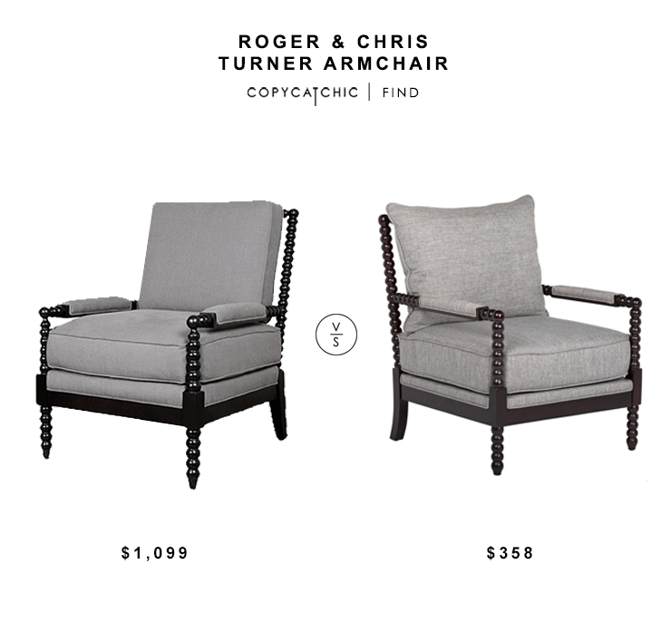 Roger & Chris Turner Armchair $1009 vs Overstock Colonnade Spindle Chair $358 spindle armchair look for less copycatchic luxe living for less budget home decor and design daily finds