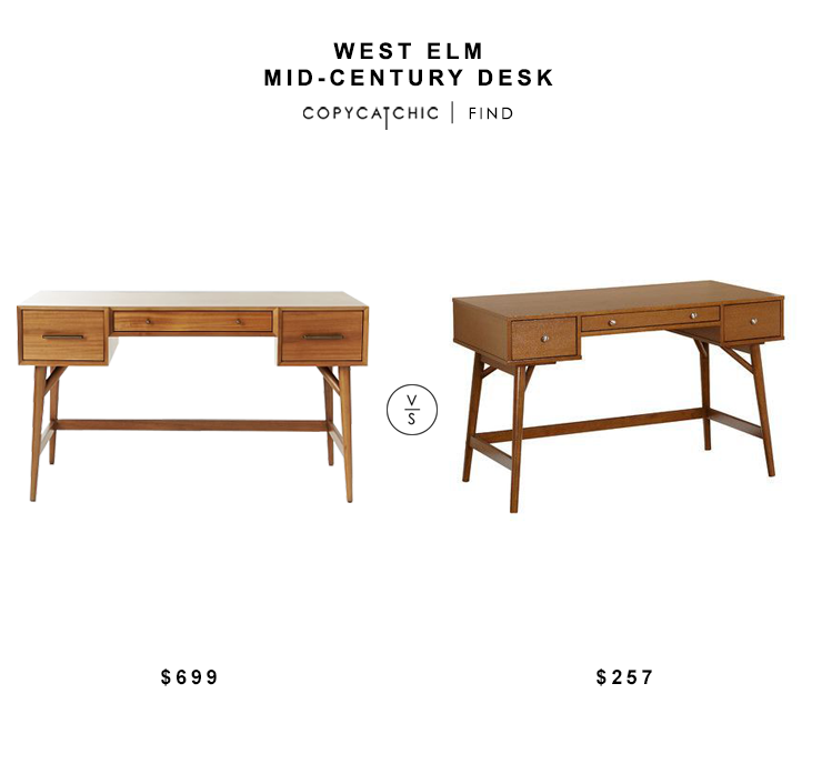 West Elm Mid Century Desk $699 vs Wayfair Lucille Palm Oasis Writing Desk $257 mid century desk look for less copycatchic luxe living for less budget home decor and design daily finds
