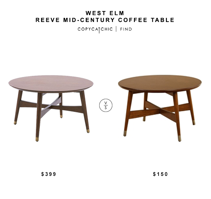 West Elm Reeve Mid-Century Coffee Table $399 vs Overstock Allen Round Coffee Table $150 round mid century wood coffee table look for less copycatchic luxe living for less budget home decor and design daily finds