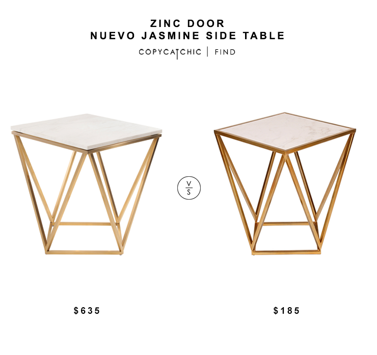 Zinc Door Nuevo Jasmin Side Table $635 vs Overstock Maia Side Table $185 geo brass side table look for less copycatchic luxe living for less budget home decor and design daily finds