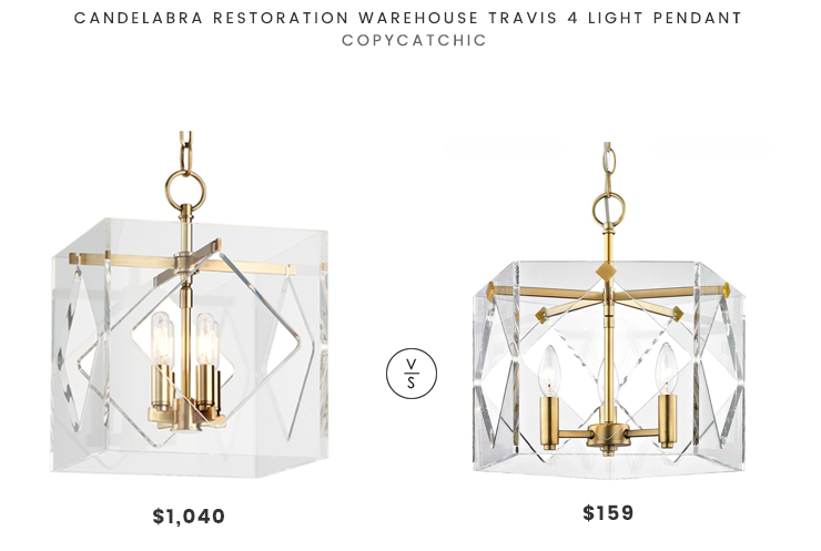 Candelabra Restoration Warehouse Travis 4 Light Pendant $1,040 vs Fifth and Main Lighting Pentos 3 Light Pendant $159 modern acrylic pendant look for less copycatchic luxe living for less budget home decor and design daily finds