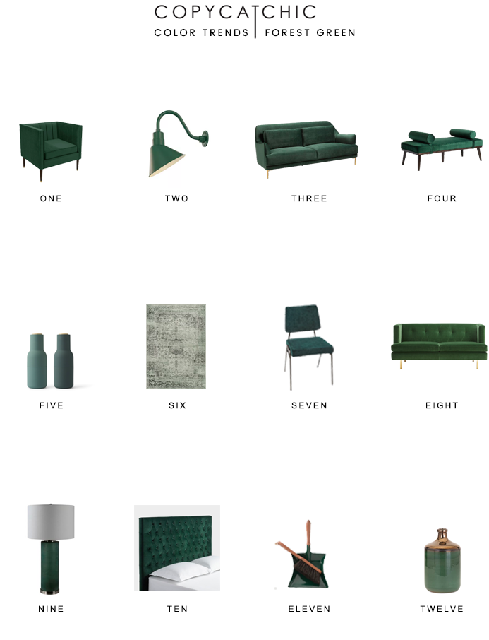 Perfect accent color for fall & winter: forest green. Rich deep green hue that adds the perfect seasonal touch to your home copycatchic luxe living for less