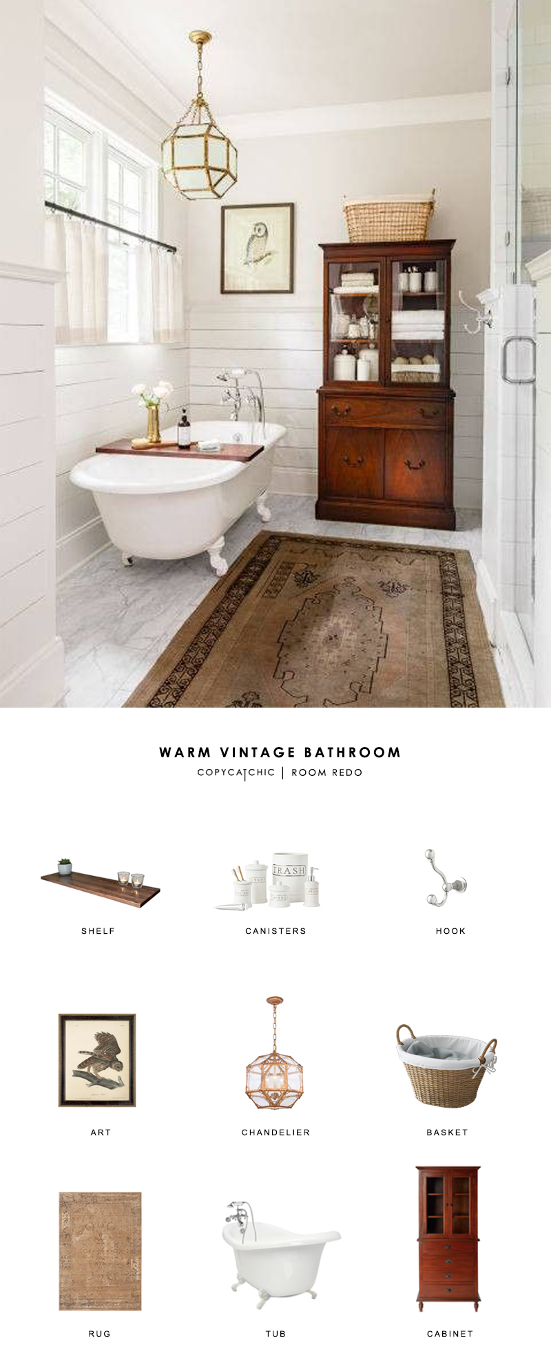 Room Redo | Warm Vintage Bathroom - copycatchic