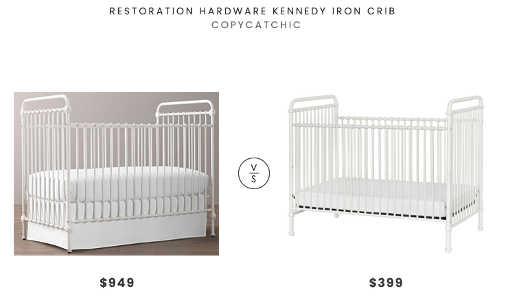 Restoration Hardware Kennedy Iron Crib $949 vs Wayfair Million Dollar Baby Classics Abigail Crib $399 white iron crib look for less copycatchic luxe living for less budget home decor and design daily finds