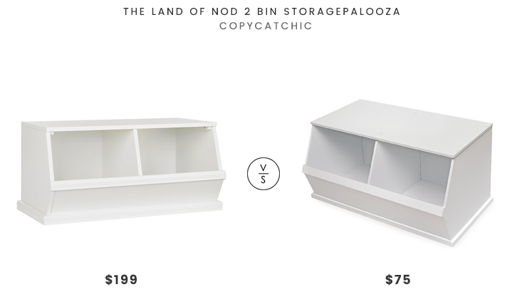 Land of Nod 2 Bin Storaagepalooza $199 vs Badger Basket Company 2 Bin Storage Cubby $75 toy storage look for less copycatchic luxe living for less budget home decor and design daily finds