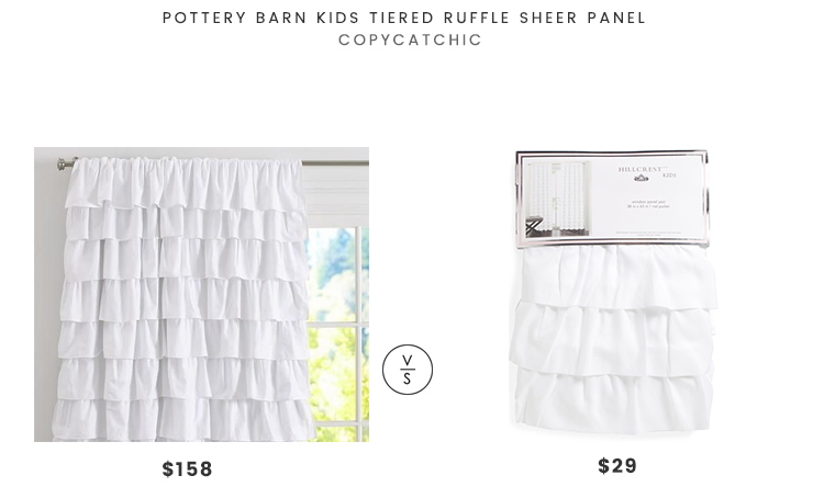 Pottery Barn Kids Tiered Ruffle Sheer Panel $158 vs TJMax Hillcrest Ruffled Curtains $29 ruffled curtains look for less copycatchic luxe living for less budget home decor and design daily finds