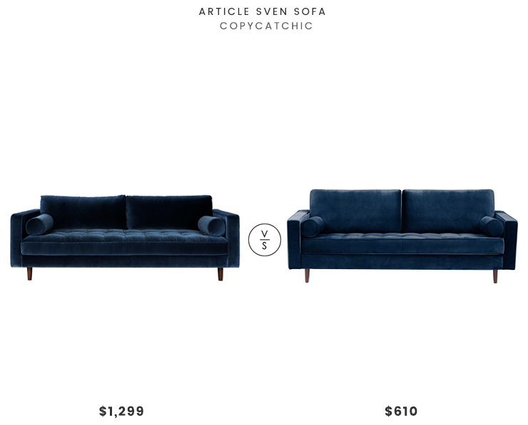Article Sven Sofa $1299 vs Joss & Main Eastwig Sofa $610 blue velvet sofa look for less copycatchic luxe living for less budget home decor and design daily finds