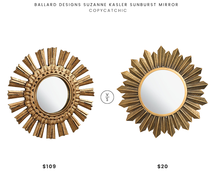 Ballard Designs Suzanne Kasler Sunburst Mirror $109 vs H&M Round Mirror $20 mini gold mirror look for less copycatchic luxe living for less budget home decor and design daily finds