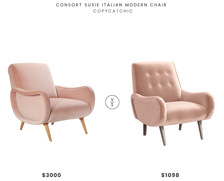 Consort Susie Italian Modern Chair $3,000 vs Anthropologie Losange Chair $1,098 blush velvet look for less copycatchic luxe living for less budget home decor and design daily finds