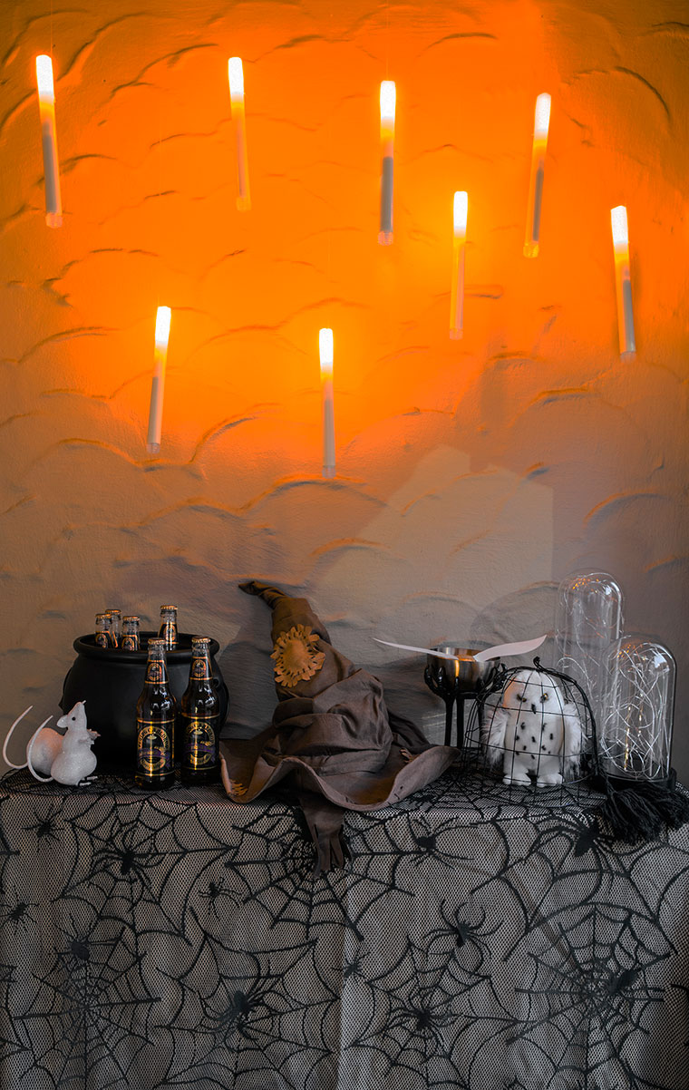 Harry Potter Halloween entryway with World Market and AtmosFX | Bring Hogwart's to life with cheap, easy and fun decor | copycatchic luxe living for less