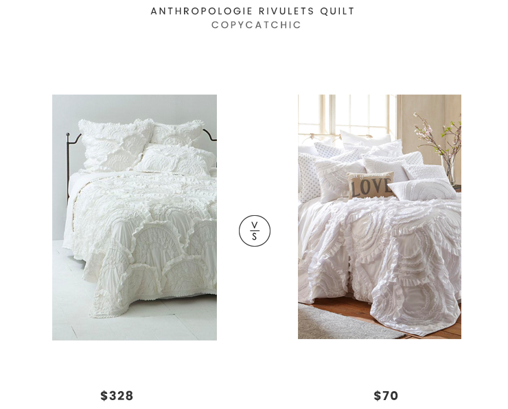Anthropologie Rivulets Quilt $328 vs Lyla Ruffled Luxury Quilt $70 ruffled quilt look for less copycatchic luxe living for less budget home decor and design daily finds