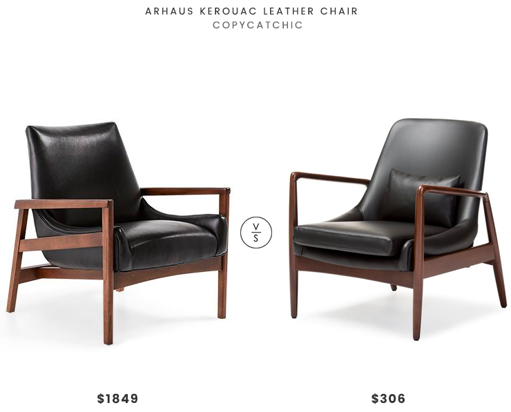 Arhaus Kerouac Leather Chair $1849 vs Mid Century Faux Leather  Chair $306 mid century leather wood chair look for less copycatchic luxe living for less budget home decor and design daily finds
